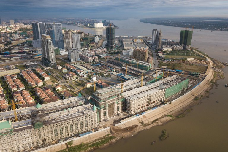 Development projects on Diamond Island in Phnom Penh, Cambodia