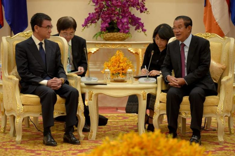 Japan cambodia sign 118 million aid agreement the cambodia daily japans foreign minister taro kono meets cambodias prime minister hun sen at the peace palace in phnom penh on april 8 2018 photo afp platinumwayz
